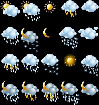 fine weather icon clouds vector