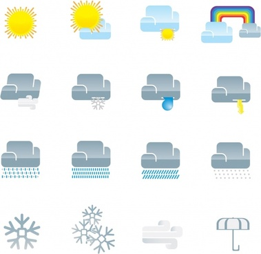 weather forecast elements colored flat symbols sketch