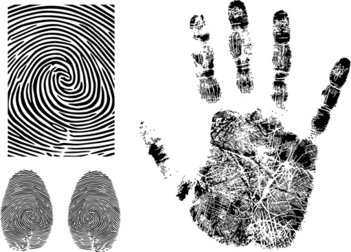 fingerprint templates black white flat sketch