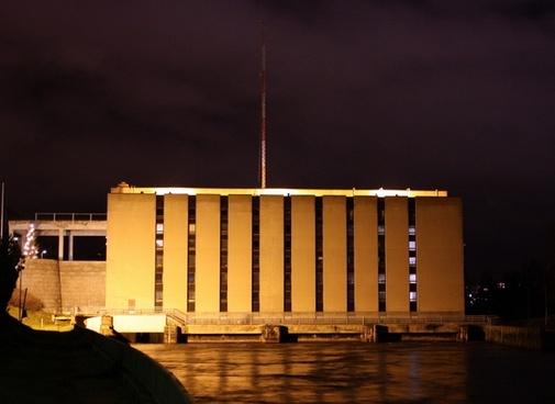 finland power plant night