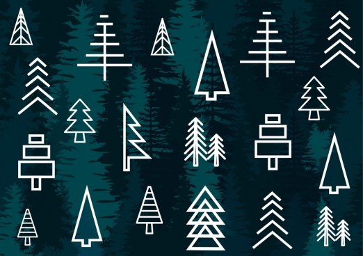 fir tree icons white lines sketch design