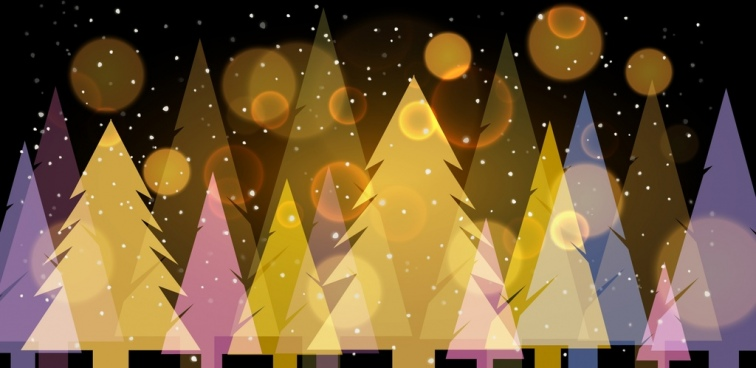fir trees background colored sparkling decoration