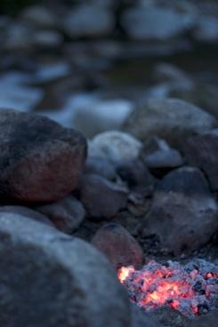 fire camping rocks