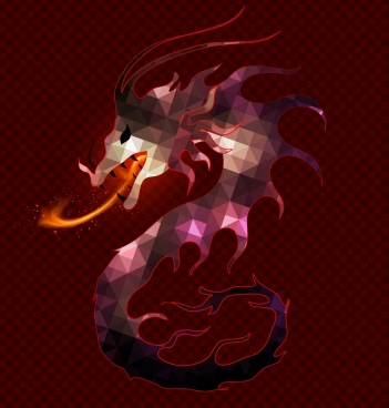 fire dragon background polygonal decoration eastern classical style