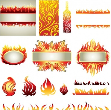 decorative fire icons frame bottle pattern sketch