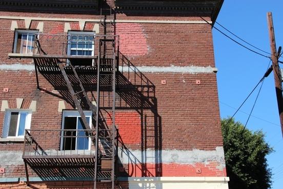 fire escape on brick apartment building