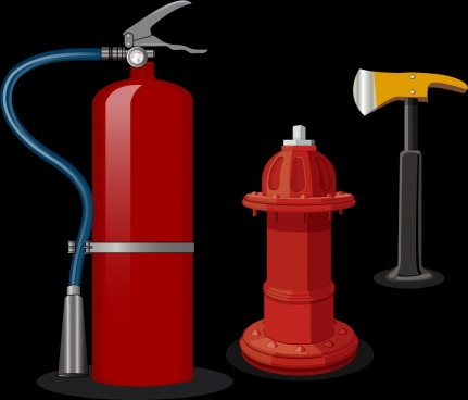 fire extinguish icons 3d colored realistic design