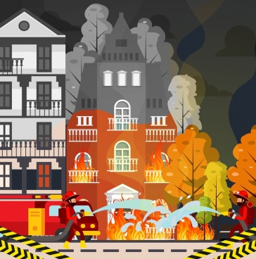 fire extinguish painting fireman burnt building cartoon design