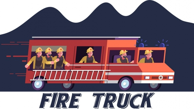 fire fighting banner truck firemen icons cartoon characters