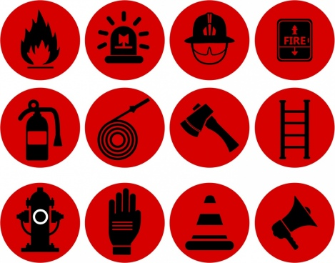 fire fighting design elements red design flat icons