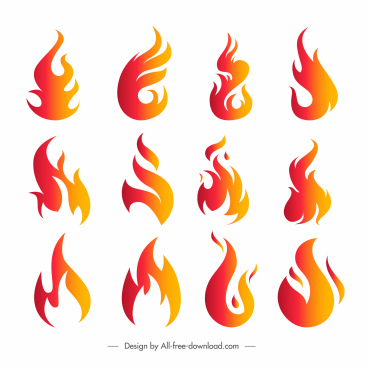 fire icons collection colored flat dynamic shapes