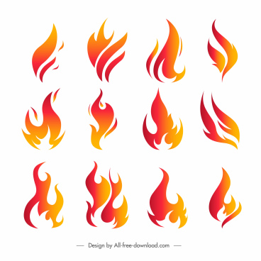 fire icons collection modern flat dynamic shapes