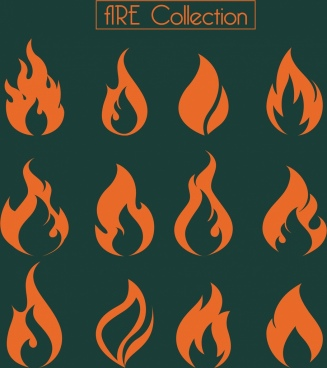 fire icons collection orange shapes design