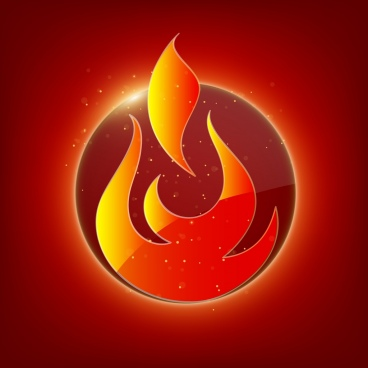 fire logo design sparkling red decoration