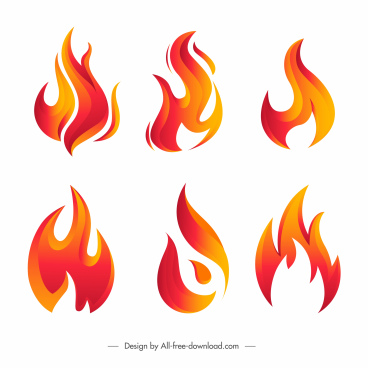 fire logo templates modern orange shapes