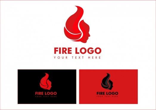 fire logotype sets red design human face icon