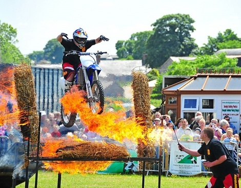 fire motorcycles jump