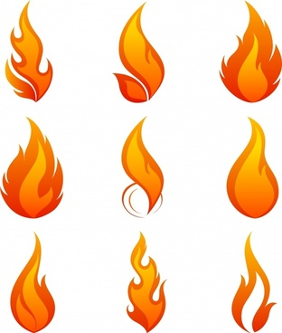fire icons collection orange flat sketch dynamic design
