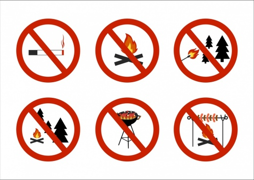 fire warning signboard flat round design