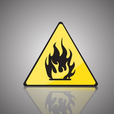 fire warning signboard yellow triangle flame icon