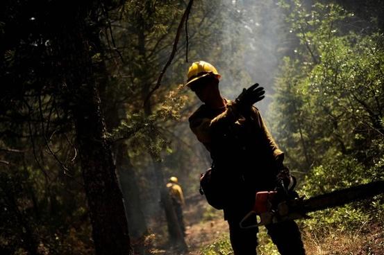 firefighter forest fire hot
