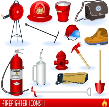 fire fighter tools icons colored modern 3d sketch