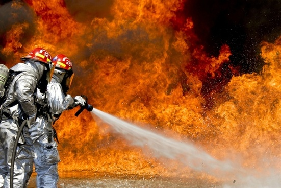 firefighters fire flames