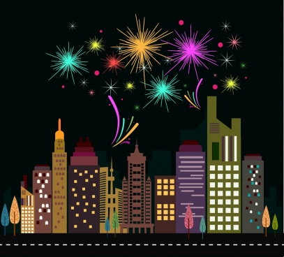 fireworks and city theme design colorful flat style