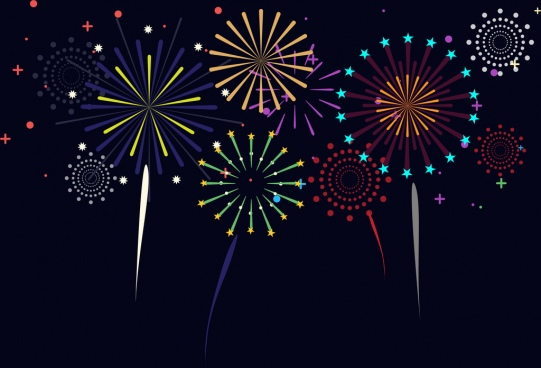 fireworks background colorful sparkles on dark backdrop