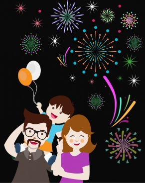 fireworks background design happy family decoration