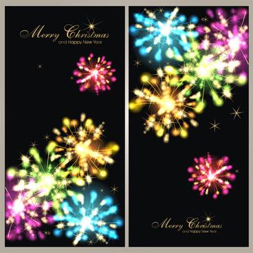 fireworks christmas art background vector