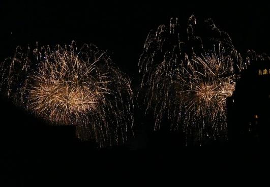 fireworks explode night