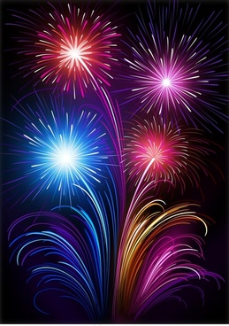 fireworks painting colorful sparkling explosion decor