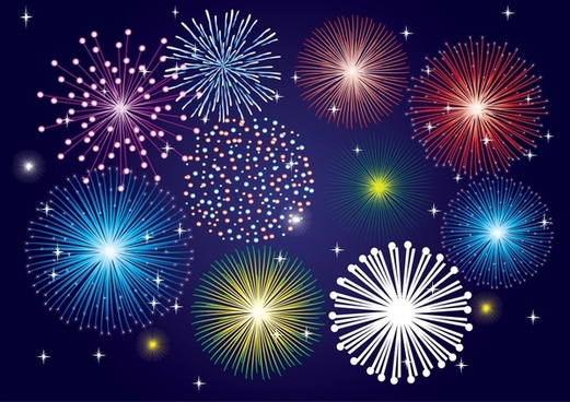 fireworks background colorful twinkling bursting design