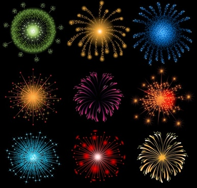 fireworks design elements colorful bursting shapes decor