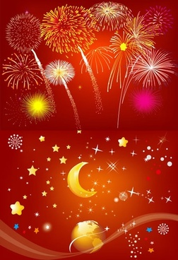 fireworks rain vector earth moon and star