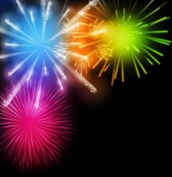 fireworks salute colored background vector