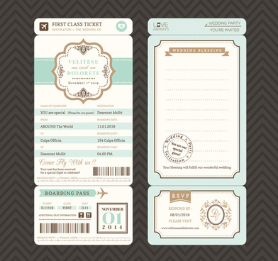 first class ticket with wedding invitation templates vector