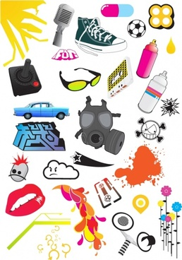 miscellaneous vector collection with colored illustration
