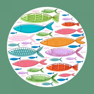 fish background colorful icons circle layout