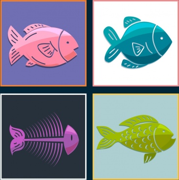 fish background sets colored flat icons quare isolation