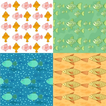 fish background sets colorful repeating outline