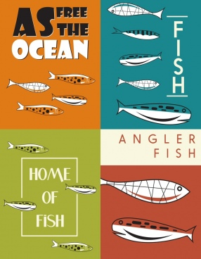 fish banner sets classical handdrawn sketch