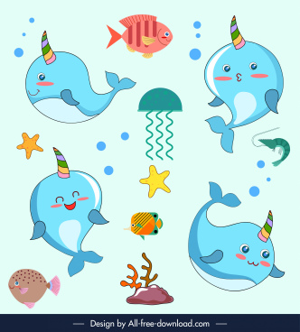 fish creatures icons cute cartoon characters sketch