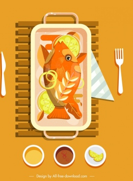 fish cuisine painting classical colored design