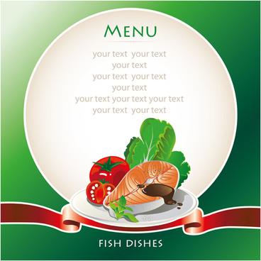 fish dishes menu elements vector