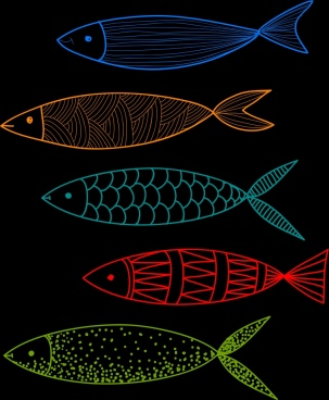 fish drawing dark colorful flat sketch