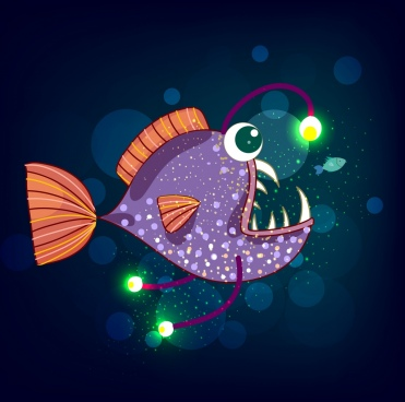fish drawing scary design multicolored decor