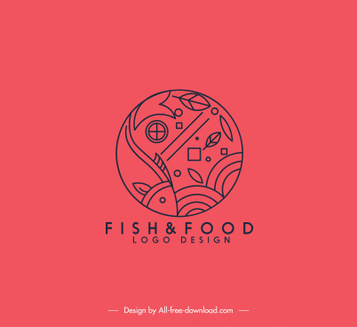 fish food logo template classical handdrawn flat sketch