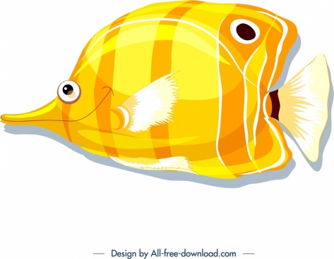 fish icon bright yellow design
